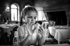 You've Got Mail (Unicorn.mod) Tags: 2017 bw monochrome indoor restaurant lunch child girl phone iphone people manual manuallens manualshooting portrait canoneos6d canon samyang35mmf14asumc samyangmf35mmf14edasumcae samyang myfocus diamondclassphotographer flickrdiamond