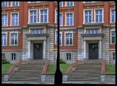 Reichenbach, Friedensschule 3-D / CrossView / Stereoscopy / HDR / Raw (Stereotron) Tags: saxony sachsen vogtland reichenbach architecture school europe germany crosseye crosseyed crossview xview cross eye pair freeview sidebyside sbs kreuzblick 3d 3dphoto 3dstereo 3rddimension spatial stereo stereo3d stereophoto stereophotography stereoscopic stereoscopy stereotron threedimensional stereoview stereophotomaker stereophotograph 3dpicture 3dglasses 3dimage twin canon eos 550d yongnuo radio transmitter remote control synchron kitlens 1855mm tonemapping hdr hdri raw