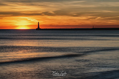 Golden Sunrise (robinta) Tags: roker sunderland sea seaandsand seascape coast beach sand coastline silhouette architecture pier lighthouse ngc england sunrise dawn sky clouds longexposure water ocean waves