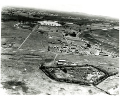 Black and White Aerial Photograph of Historic Buildings at Fort Lytton, Brisbane and surrounding area (Queensland State Archives) Tags: brisbane fortlytton military encampment queensland historicbuildings lytton aerialphotograph