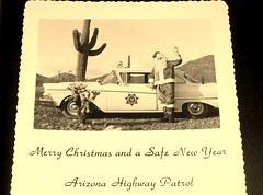 Merry Christmas and a Safe New Year! (simbajak) Tags: 1958 ford custom santa claus christmas saguaro cactus cholla black white arizona highway patrol