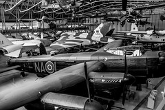 Duxford Aerospace Hanger (aquanout) Tags: aeroplanes aircraft planes museum monochrome blackandwhite