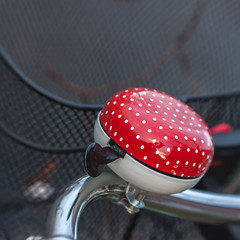 Dotty Bell (suzanne~) Tags: bike bicycle bell polkadots dot red handlebar basket detail project 100bicycles lensbaby munich germany street outdoor