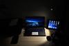 Laptop on a desk (Stefen Acepcion) Tags: laptop desk setup night light dark screen electronic computer canada ipad contarst warm winter phone xps dell printer joystick ikea brown wood