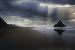 Chasing the Light (lfeng1014) Tags: chasingthelight karekarebeach karekare panatahiisland blacksandbeach blacksand sky light sunrays sunbeam cloud landscape reflection tasmansea sea ocean dramaticsky canon5dmarkiii ef1635mmf28liiusm aucklandregion northisland newzealand nz travel lifeng sunbreakingthrought