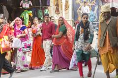 At the Pushkar market street (Tim Brown's Pictures) Tags: india rajasthan pushkar religiousfestival 2017 hinduism hindu brahma lordbrahma holylake fashion color saris headscarves camelfestival visitors tourists traders market streetmarket clothing