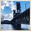 Steel Bridge (pete4ducks) Tags: portland oregon steelbridge 2017 iphone blue 500views willametteriver bridge nwea usbancorptower bigpink clouds outdoors walking hipstamatic