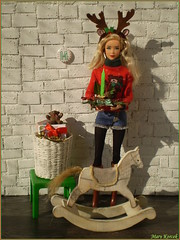 14.advent day - advent calendar with dolls 2017 (Mary (Mária)) Tags: christmas advent calendar 2017 christmastime rockinghorse diorama miniatures teddy reindeer headband candlestick ikea stardoll dollstyle fashion doll toys dollphotography photoshoot handmade marykorcek december