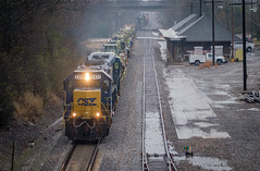 Work Train in the Rain. (Mr. Pick) Tags: csx emd murfreesboro tn tennessee depot rain gp402 chattanoogasub