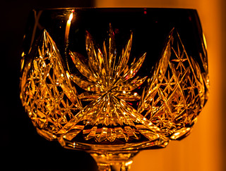 old crystal sherry glass