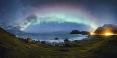 Uttakleiv Aurora (simonweb_photo) Tags: panorama lofoten islands norway aurora northern lights fjord night sky stars rocks uttakleiv beach sea water waves