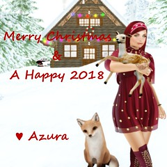 Merry Christmas! (Azura Lowbeam) Tags: azura redhead hottie ginger blueberry pixicat osmia halfdeer truthhair slink slinkhourglass pinkfuel bento catwa catya henna people animals outside cute deer fox christmas ring necklace choker bracelet logcabin snow pinetree text curvy busty dress boots hairband