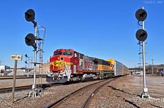 "Southbound Local in Kansas City, MO (""Righteous"" Grant G.) Tags: bnsf railway railroad atsf santa fe emd ge power kansas city missouri south southbound local freight ns searchlight signal"