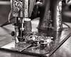 Century Singer Machine 1 (rrunnertexas) Tags: singer sewingmachine closeup thread bobbins century 1902 4x5 bw aristaedu film rodinal zeiss tessar lens vintagecamera oldcamera bellowscamera voluteshutter