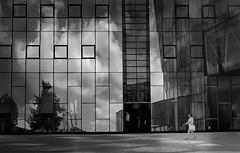 big mirror (heinzkren) Tags: schwarzweis blackandwhite bw monochrome spiegelung reflection architektur architecture urban building gebäude windows fenster human panasonic lumix street streetphotography wolken clouds wien vienna frau woman geometry geometrie facade fassade ömv