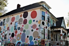 "Heidelberg Project: ""Dotty Wotty"" (Jan Nagalski (off for awhile)) Tags: art publicart streetart outdoorart controversial controversy bizarre unique unusual strange heidelbergproject detroit abandoned decay urban city urbandecay destruction michigan jannagalski jannagal dots superman foundobjects junk circles colorful dottywotty newwhitehouse flag"