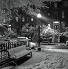 All quiet in Sparrow Park (iMatthew) Tags: explore night iphoneography blackandwhite boston southend sparrowpark titussparrowpark parkbench snowy snow bw streetlamp