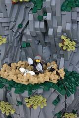 A Risky Endeavor (soccersnyderi) Tags: lego moc creation model castle medieval dragon landscape tilted angled rockwork design technique cliff nest lair mitgardia mitgardian