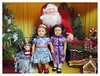 Portraits with Santa - Emily & Ruthie (Foxy Belle) Tags: american girl mini doll ag 6 diorama christmas historic characters santa claus tree