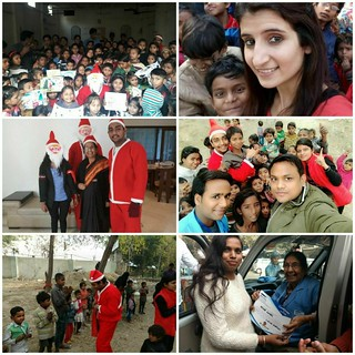 Christmas celebrations by Team Blue Pen on 24.12.2017- Santa Claus gave away gifts as flyover/Slum kids sung Jingle Bells
