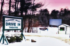 Drive-In-Sanity. (Fotofricassee) Tags: drivein movie winter snow closed shack convertible family film flick pine hill