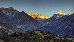 Sunset on The Roof of The World (peterjcoughlan) Tags: altitude amadablam climbing everest himalaya hoteleverestview khumbu mountains namchebazaar nepal peak rock snow syangboche summit sunset trekking view