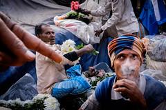Untitled (koushiksinharoy1) Tags: morning market flowers people men business dynamic limbs hand chaos poetry smoke stare gaze kolkata india