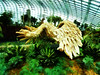 The Swan (Steve Taylor (Photography)) Tags: swan feathers bird art digital sculpture carving brown green blue wood wooden singapore asia succulent tree foliage texture lines flowerdome gardensbythebay