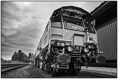 Network Rail Rail Grinder unit. (Rob-33) Tags: svr severnvalleyrailway networkrail railgrinder pentaxkx kidderminstertownstation monochrome blackandwhite