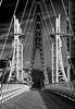Salford Quays Millennium footbridge (Mister Oy) Tags: davegreen oyphotos ©oyphotos salfordquays bridge lift mono monochrome blackandwhite d850 nikond850 nikon2470mmf28afs redfilter lines footbridge light shadow greatermanchester cables architecture modern