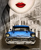 Havana Cuban Dreams, Art by Sherrie Thai of Shaireproductions.com (shaire productions) Tags: havana cuba cuban illustration drawing art artwork vintage car vehicle blue chevy chevrolet portrait travel architectural sherriethai shaireproductions woman girl lips beauty dreams chevybelair artprint etsy