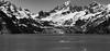 Glacier Bay (thedailyjaw) Tags: alaska mountainrange mountainscape landscape bw blackwhite blackandwhite d610 nikon land mountains snow mist fog black texture rocks grain water ocean glacier glacierbay glaciers