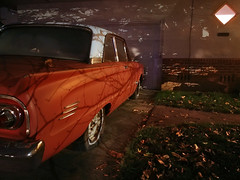 Night of the Comet (RZ68) Tags: mercury comet car classic 60s vintage shadows light dark lg g6 long exposure night red orange house portal window fall leaves winter christmas 2017 1963