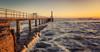 Golden Pier (ianbrodie1) Tags: amble pier lighthouse sea seascape coast coastline leefilters coquet island rough ocean northumberland sunrise
