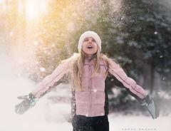 Celebration (Sonya Adcock Photography) Tags: girl child kid snow hat winter gloves snowing coat light flurries cold trees wonderland happy fun childhood play sonyaadcock sonyaadcockphotography nikon nikond700 nikkor nikkor105mmdc painterly highkey
