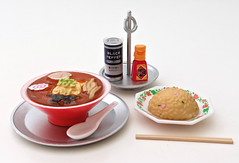Nostalgic Diner # 2 (MurderWithMirrors) Tags: rement miniature food meal chopsticks plate bowl rice mwm ramen spoon blackpepper tray bottle