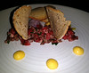 steak tartare (n.a.) Tags: raw steak beef chopped minced toast shallots egg droplets white concentric rings plate flash food