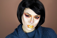 Red Fire (Julia Ellies) Tags: makeup trucco trasformazione facepainting facechart redfire blackhair portrait art autoritratto arte selfportrait selfie canon closeup ritratto canon600d me io model redeyes eyes pictures lips makeuptutorial