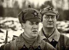 Soviet pioneers (alex_goss) Tags: blackandwhite bw monochrome winter war reenactment reenactors reenacting uniform