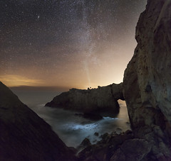 Reflections (Robalabob1) Tags: white arch rhoscolyn wales anglesey ynys mon ocean sea tide seascape nightscape landscape water light stars astro astrophotography pose headlight milky way rocks cliff coast