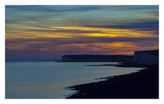 Wishing everyone a happy and healthy 2018. May the light be always with you :) (ShootsEatsandLives) Tags: seven sisters country park south downs east sussex southeast england chalk limestone white cliffs eastbourne sea evening sunset twilight magic hour golden blue orange colourful clouds coast beach outdoors seascape summers sightseeing travel europe uk national trust britain long exposure reflections
