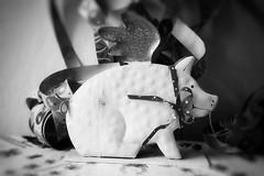 First Night for the 2018 Piggy (Sockenhummel) Tags: sylvester neujahr glücksbringer schwein glücksschwein marzipanschwein glückspilz fuji x30 schwarzweis monochrom blackwhite jahreswechsel