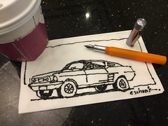 Napkin sketch of a '67 Mustang fastback. (schunky_monkey) Tags: inkdrawing penandink ink pen fountainpen illustrator illustration drawing draw sketching napkin sketch auto automobile hotrod car musclecar 1967fastback mustang ford