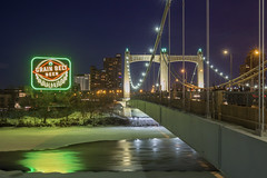 Grain Belt Sign Relit (Sam Wagner Photography) Tags: grain belt sign icon landmark minneapolis cold frozen mighty mississippi water long exposure ice snow winter hennepin avenue bridge relighting relit ceremony event new decorative light city cityscape minnesota midwest people watching