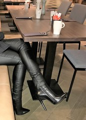 New Year City Trip - Rosina having breakfast at the hotel (13 cm handmade ankle boots) (Rosina's Heels) Tags: high heel stiletto ankle boots