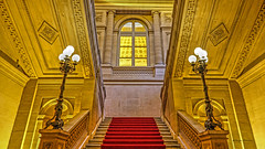 Musee de la Monnaie (albyn.davis) Tags: paris france europe indoor architecture stairs colors gold yellow red lamps window perspective museum travel angles