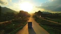 Getting to Kathmandu on a Moving Terrasse (Eye of Brice Retailleau) Tags: angle beauty composition landscape outdoor panorama paysage perspective scenery scenic view extérieur vanishing point sky sunny backpacking earth road route truck asia travel wide nepal kathmandu sunset