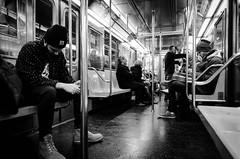 E Train (ArmyJacket) Tags: nyc newyork subway city etrain transit train people blackandwhite bw urban