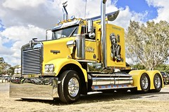 Yellow Rig (*SIN CITY*) Tags: transport truck rig trailer semi motor queensland australia goldcoast 7d canon yellow exhaust show vehicle custom custompaint marylin monroe fast furious heartbreaker chrome travel wheels peterbuilt mack kenworth international ford drag qld prime mover primemover