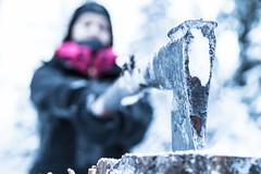 axe hit on the log in winter (VisitLakeland) Tags: ax winter lakeland finland forest outdoor outdoors tradition traditional nature kirves terä talvi metsä luonto retkeily retkeilyreitti perinne
